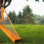 A meadow with a harp leaning on a tree
