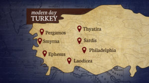 A map of modern day Turkey with seven Churches marked on map