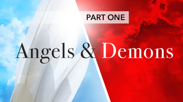 Split picture of angels with blue and demons with red backgrounds
