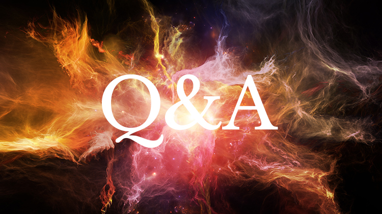 The letters Q&A over a colorful background with fire