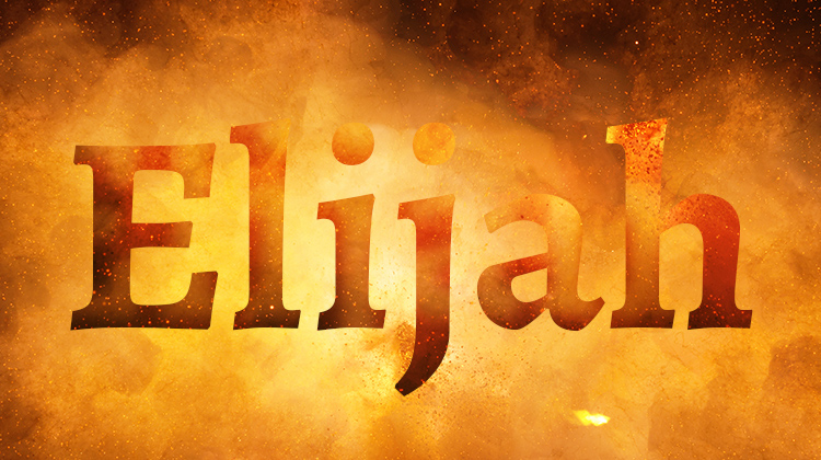 The word Elijah against a fiery colored background