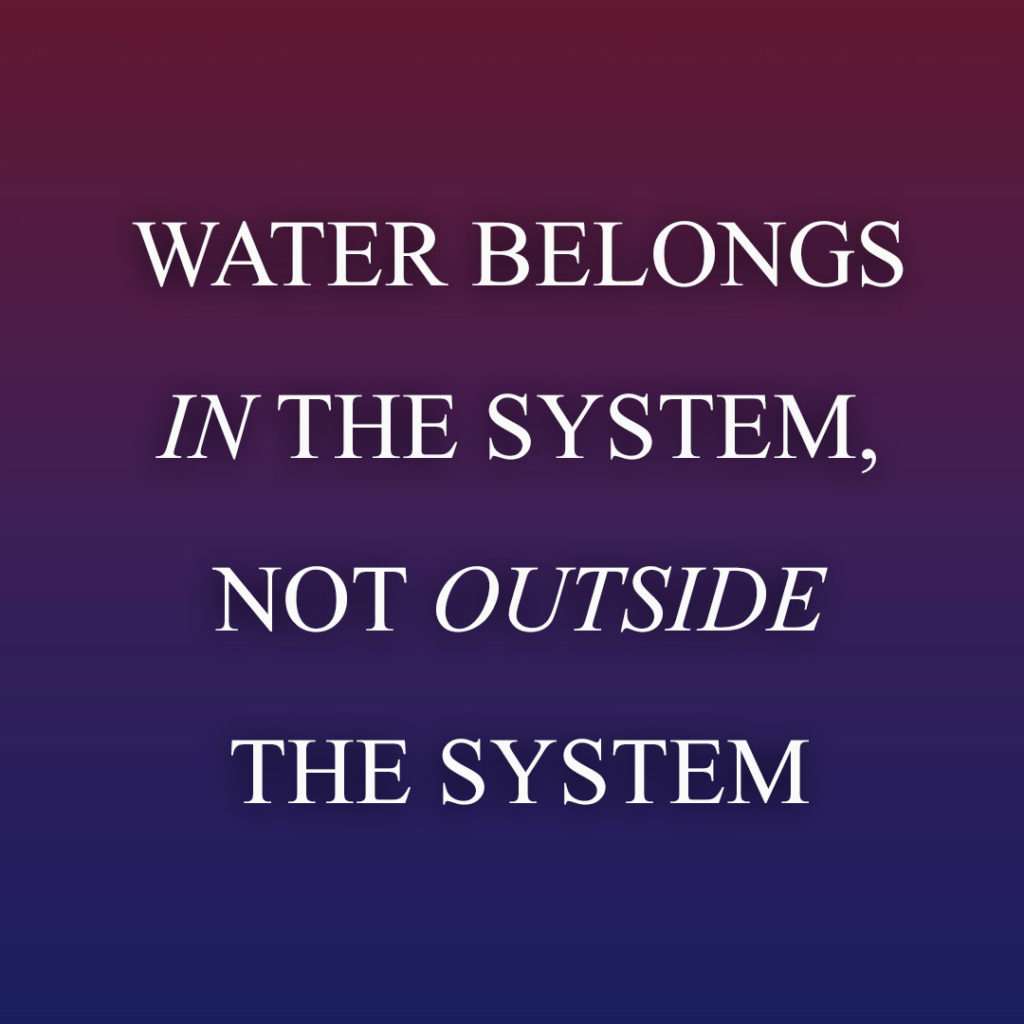 Meme: Water belongs in the system, not outside the system
